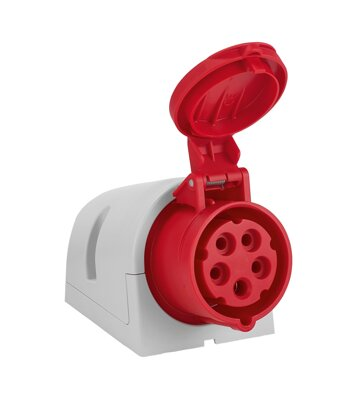 Wall Mount Socket CEE 32A 400V red 5-Pin